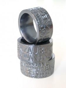 IM WORT - Ringe - hohl montiert 935 Ag schwarz Rhodium