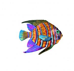 Fisch Brosche Handbemalt Stahlblech