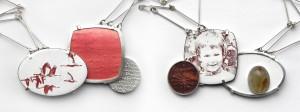 FRAGEMENTE - Collier Silber Kupfer Emaille Bergkristall Rutil